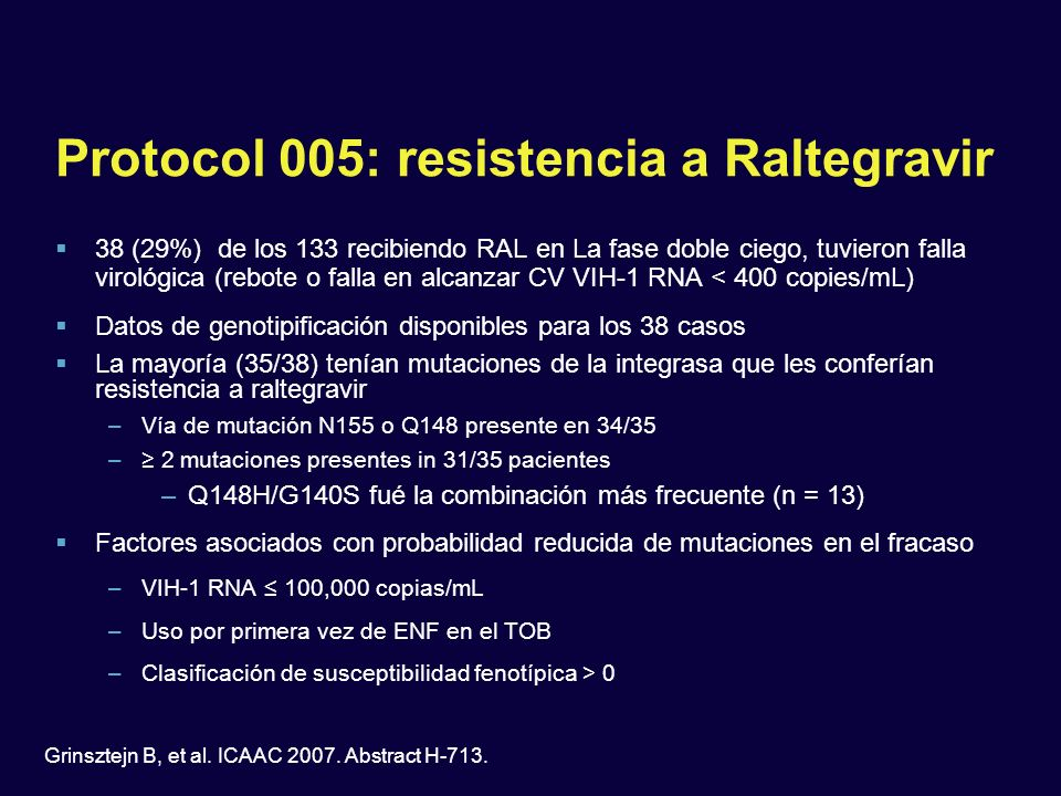 Protocol 005: resistencia a Raltegravir