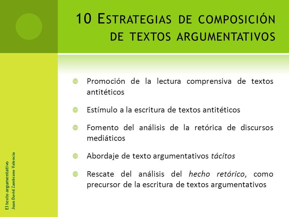 10 Estrategias de composición de textos argumentativos