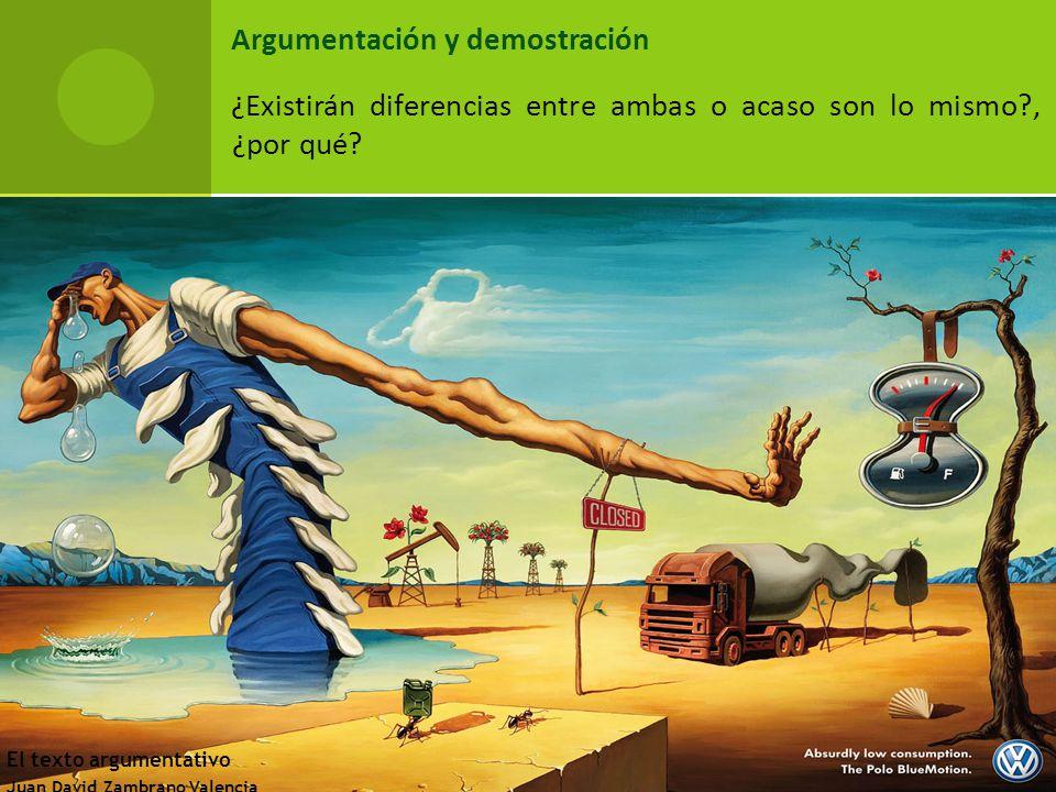Argumentación y demostración ¿Existirán diferencias entre ambas o acaso son lo mismo , ¿por qué