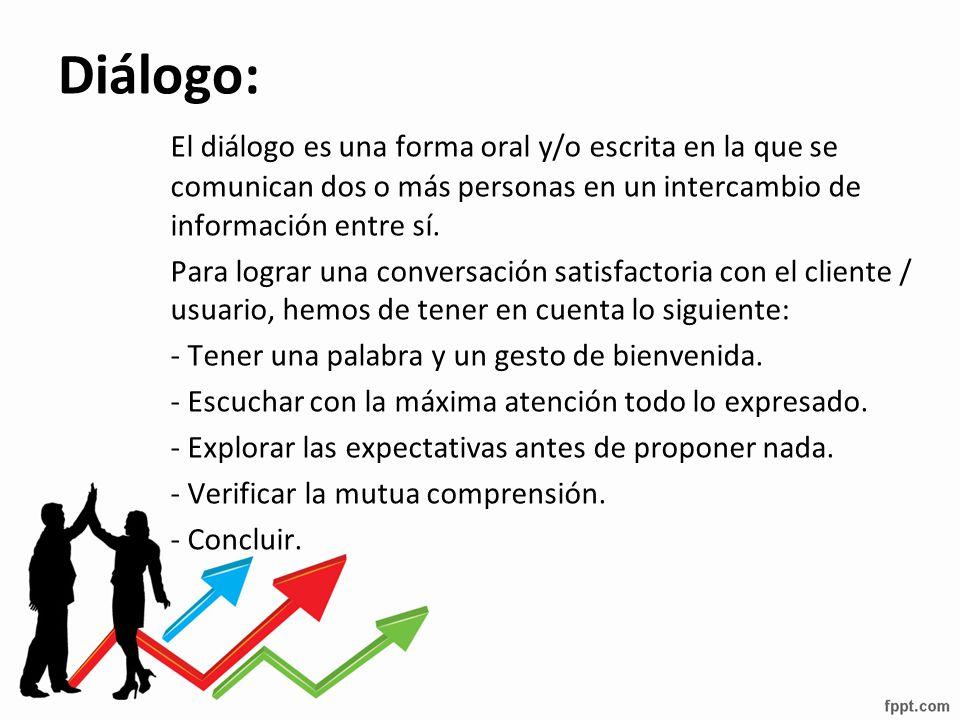 Diálogo: El diálogo es una forma oral y/o escrita en la que se comunican dos o más personas en un intercambio de información entre sí.