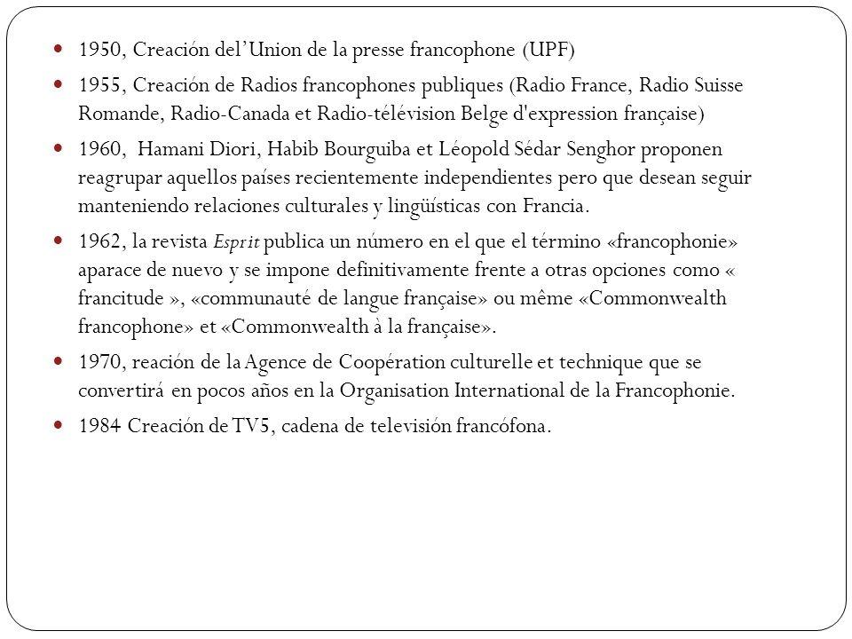 1950, Creación del'Union de la presse francophone (UPF)
