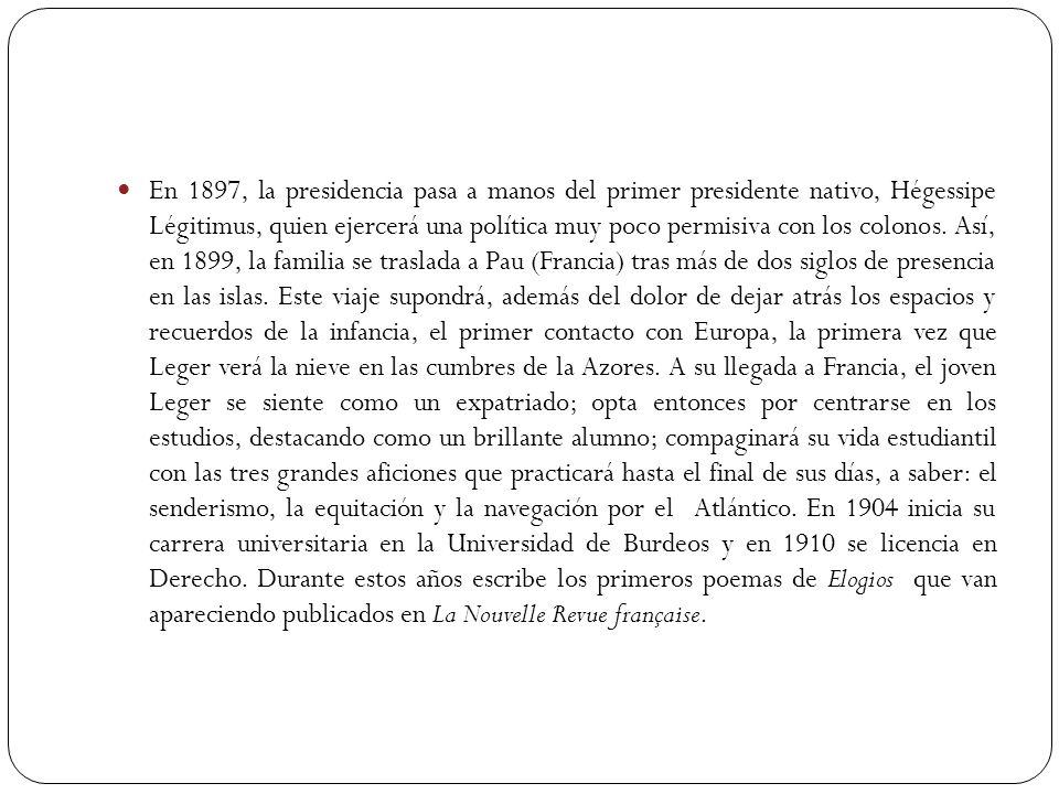 En 1897, la presidencia pasa a manos del primer presidente nativo, Hégessipe Légitimus, quien ejercerá una política muy poco permisiva con los colonos.