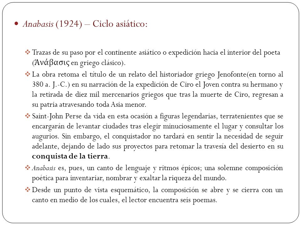 Anabasis (1924) – Ciclo asiático: