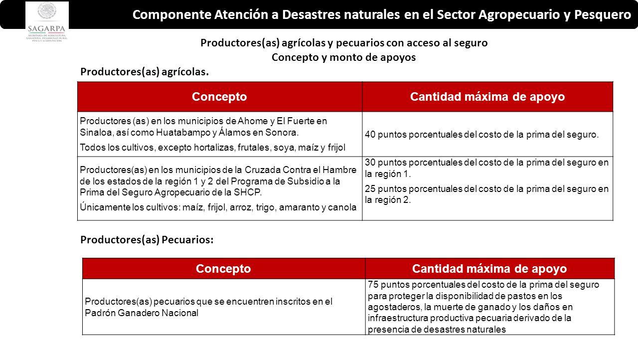 Componente Atención a Desastres naturales en el Sector Agropecuario y Pesquero