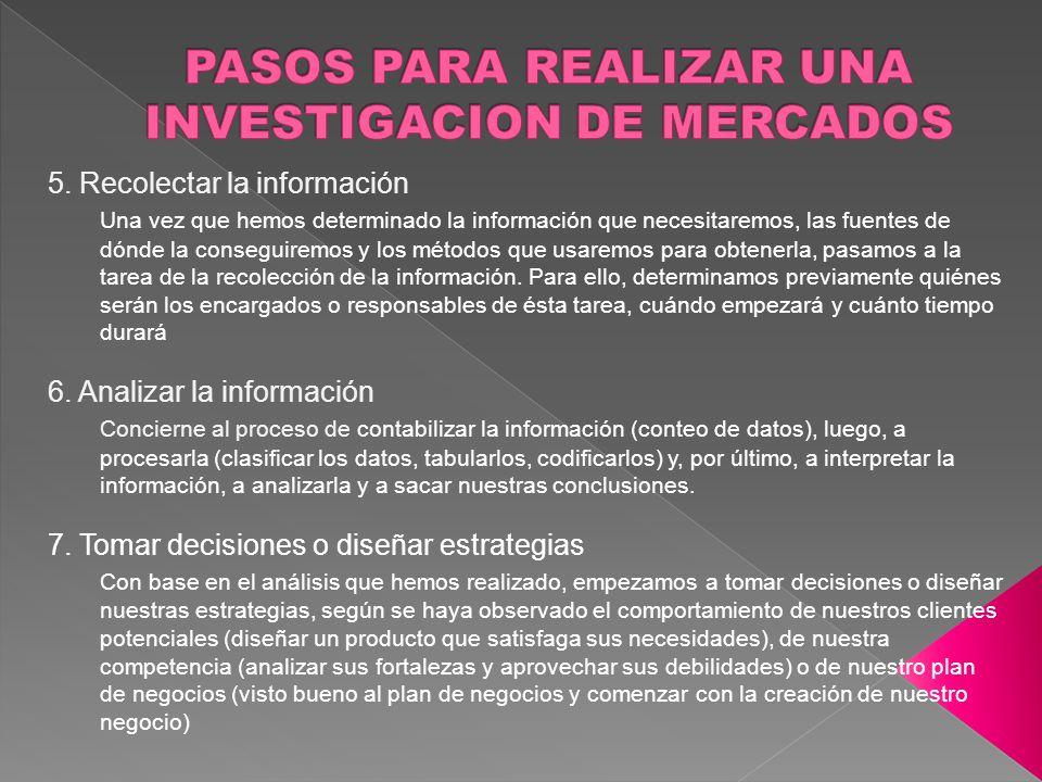 PASOS PARA REALIZAR UNA INVESTIGACION DE MERCADOS