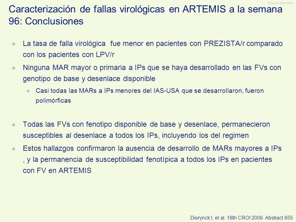 Caracterización de fallas virológicas en ARTEMIS a la semana 96: Conclusiones