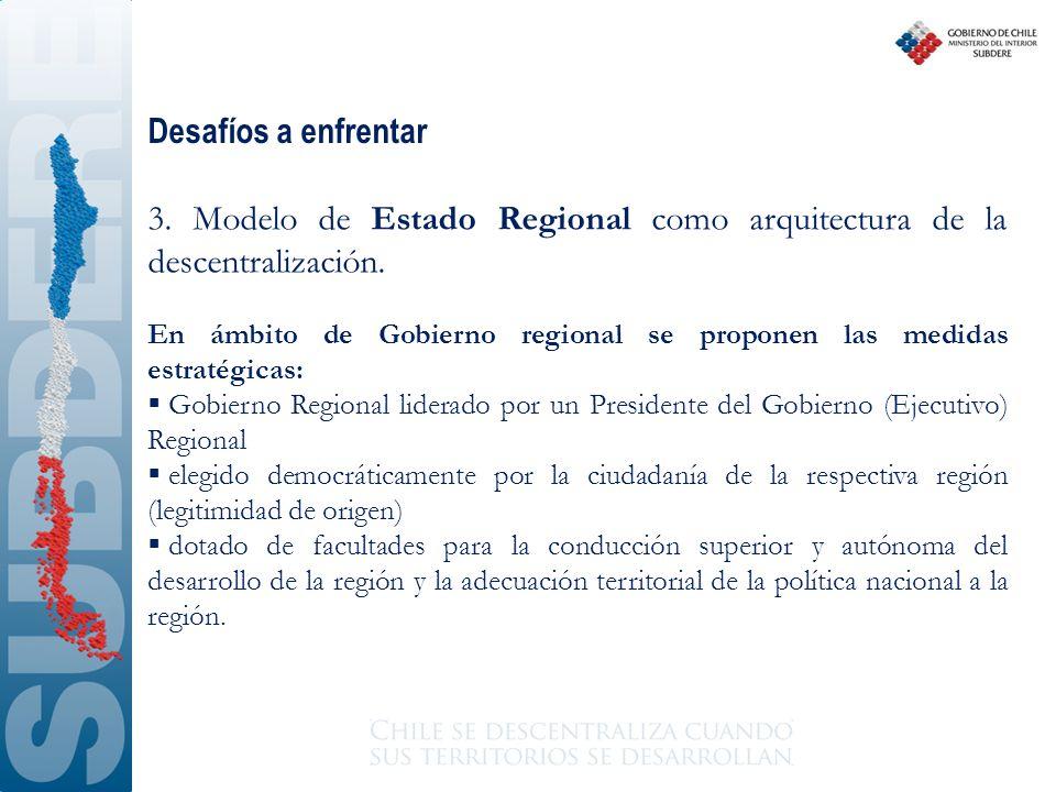 Desafíos a enfrentar 3. Modelo de Estado Regional como arquitectura de la descentralización.