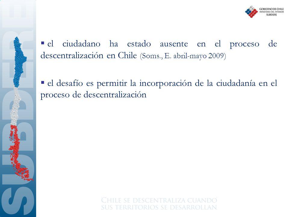 el ciudadano ha estado ausente en el proceso de descentralización en Chile (Soms., E. abril-mayo 2009)