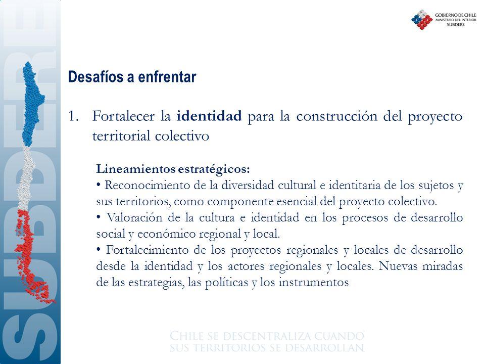 Desafíos a enfrentar Fortalecer la identidad para la construcción del proyecto territorial colectivo.