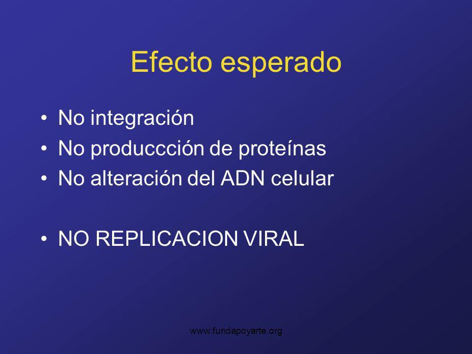 Efecto esperado No integración No produccción de proteínas