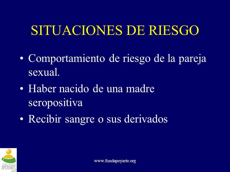 SITUACIONES DE RIESGO Comportamiento de riesgo de la pareja sexual.