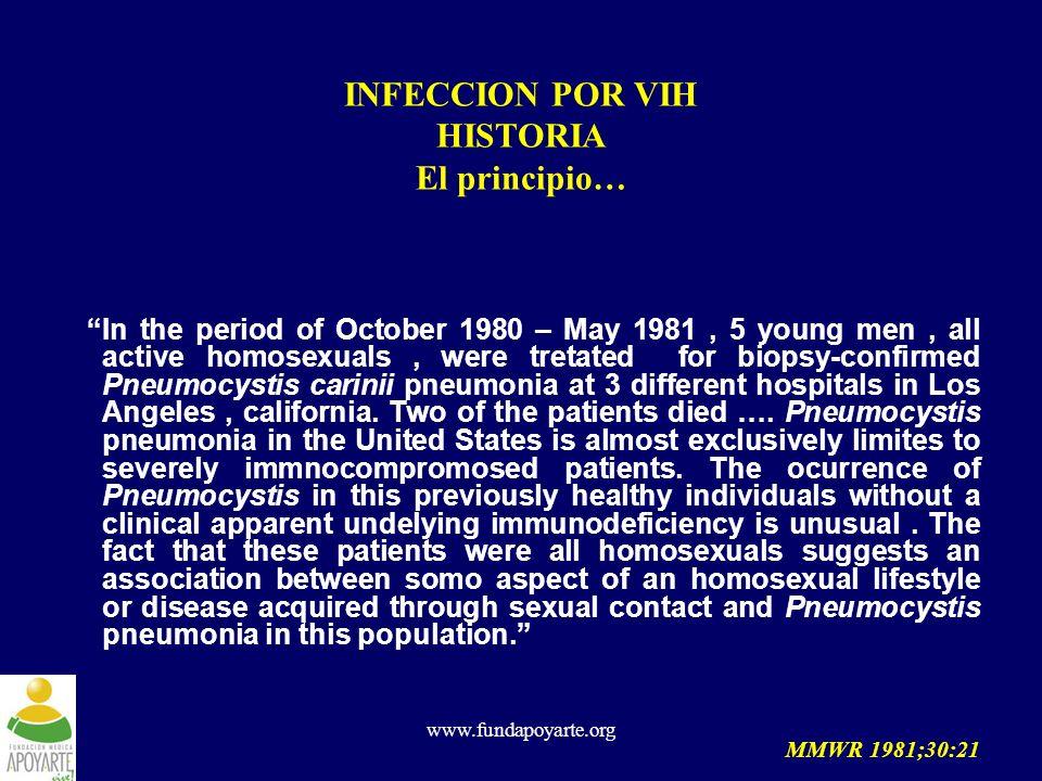 INFECCION POR VIH HISTORIA El principio…