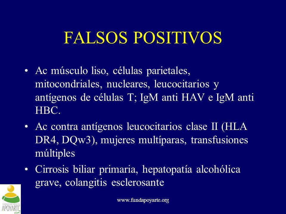 FALSOS POSITIVOS Ac músculo liso, células parietales, mitocondriales, nucleares, leucocitarios y antígenos de células T; IgM anti HAV e IgM anti HBC.