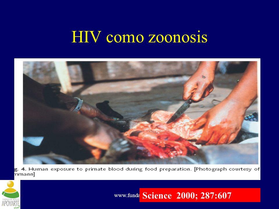 HIV como zoonosis Science 2000; 287:607 www.fundapoyarte.org