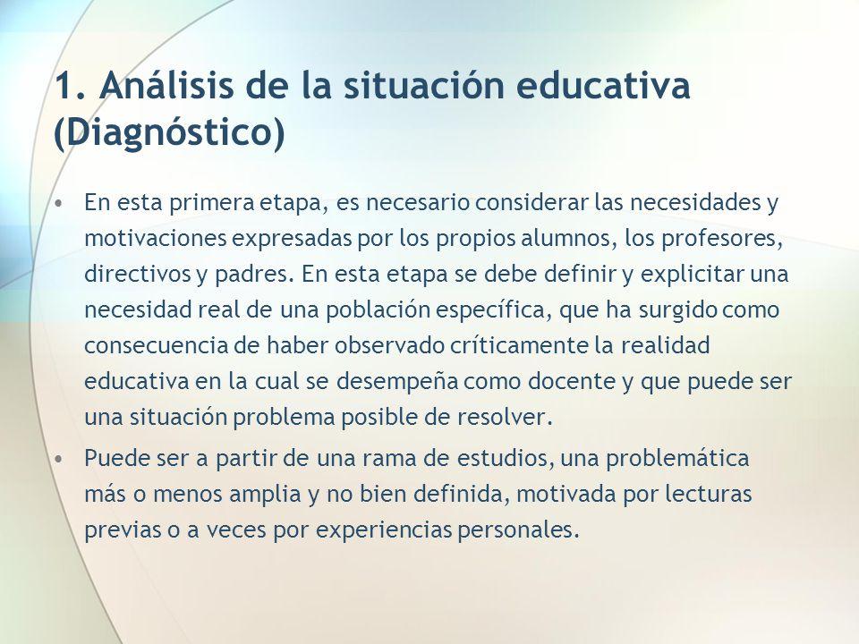 1. Análisis de la situación educativa (Diagnóstico)
