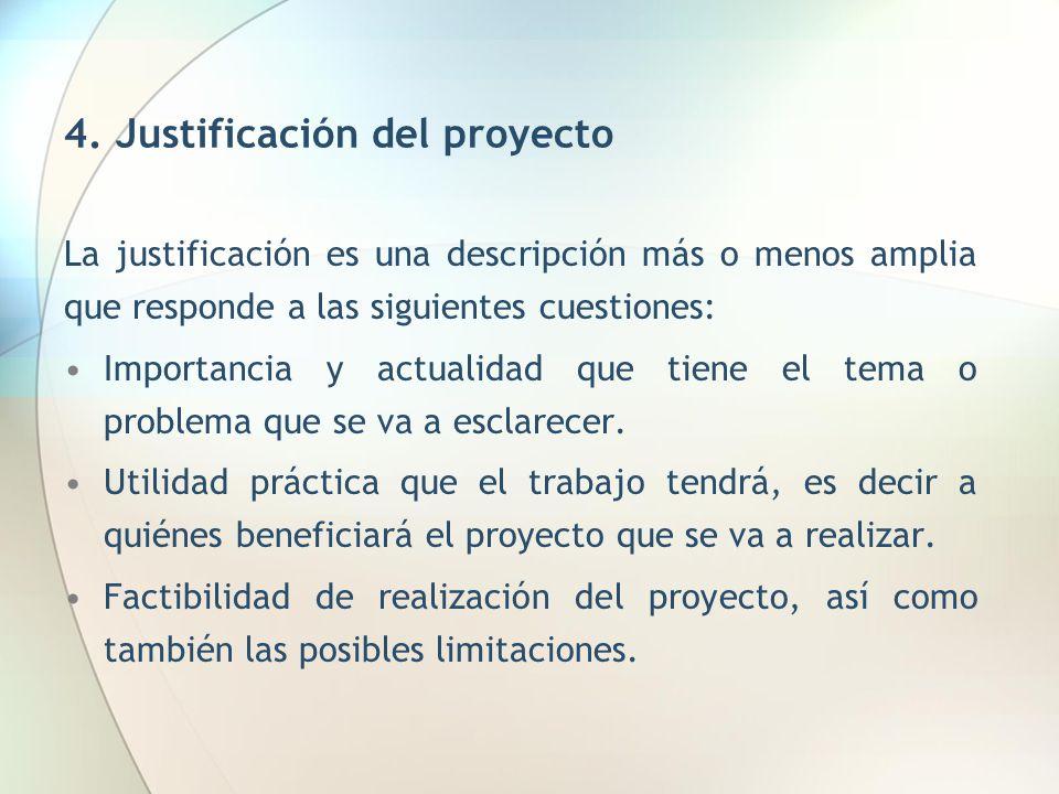 4. Justificación del proyecto