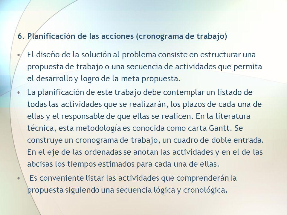 6. Planificación de las acciones (cronograma de trabajo)