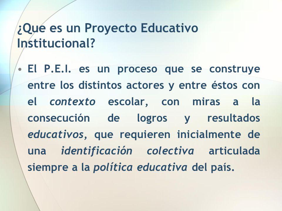 ¿Que es un Proyecto Educativo Institucional