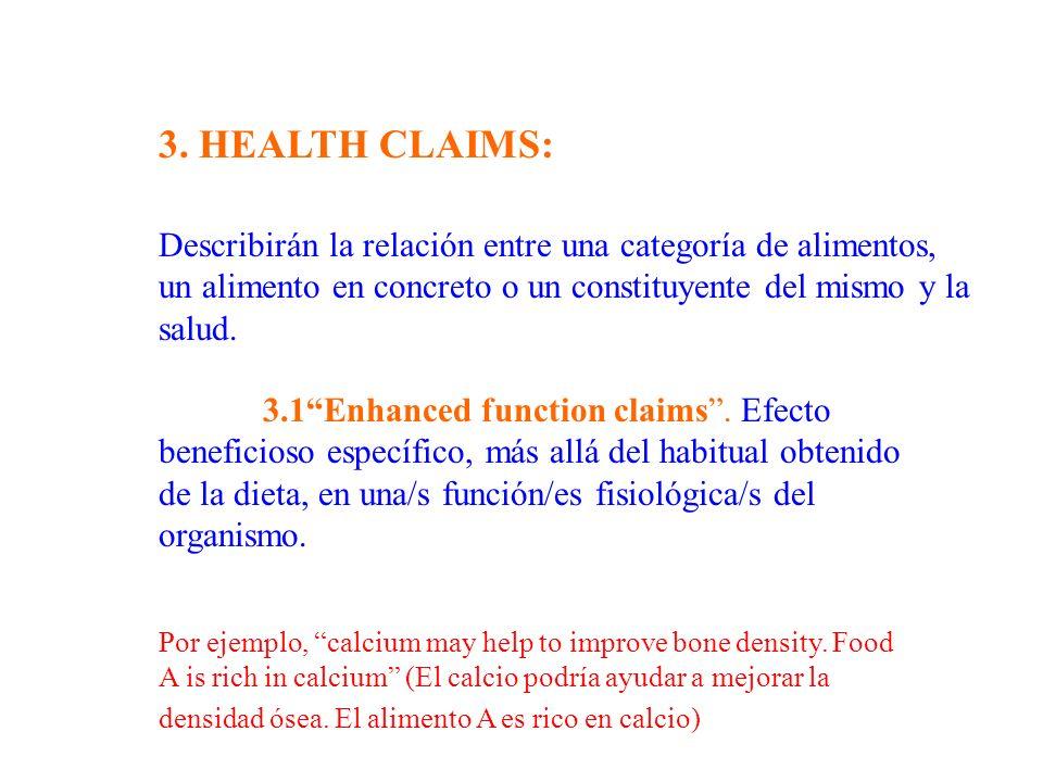 3. HEALTH CLAIMS: Describirán la relación entre una categoría de alimentos, un alimento en concreto o un constituyente del mismo y la salud.