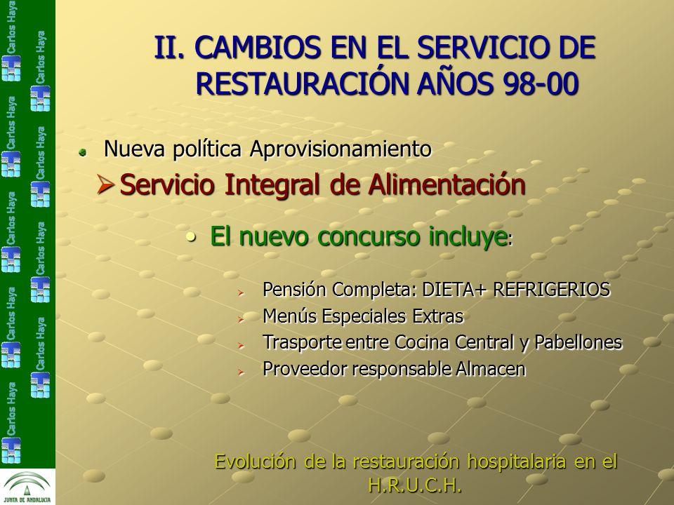 II. CAMBIOS EN EL SERVICIO DE RESTAURACIÓN AÑOS 98-00