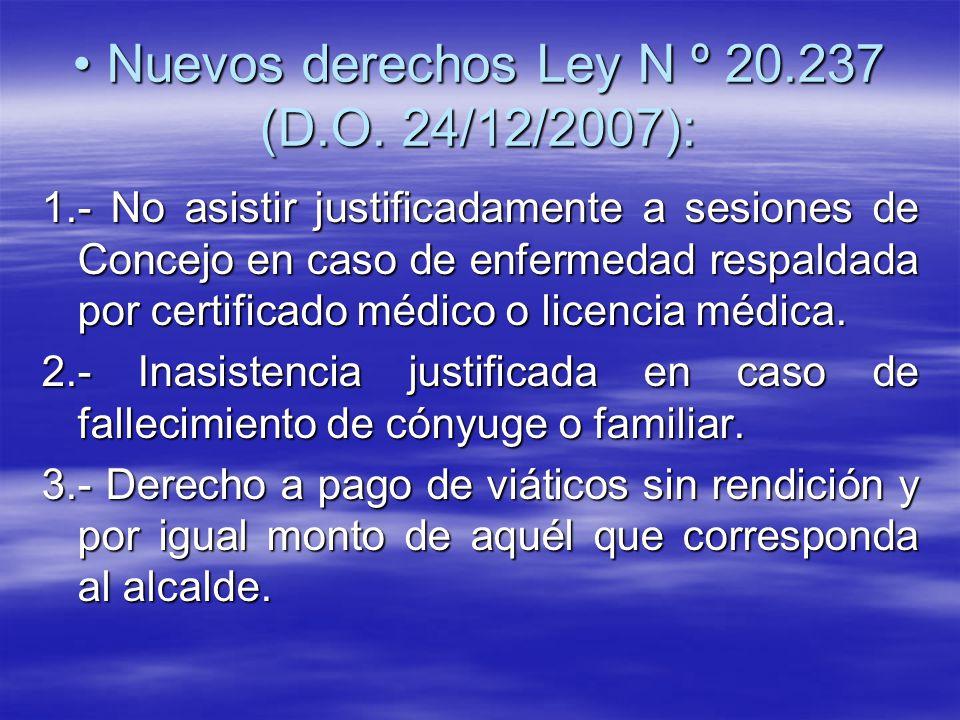 Nuevos derechos Ley N º 20.237 (D.O. 24/12/2007):