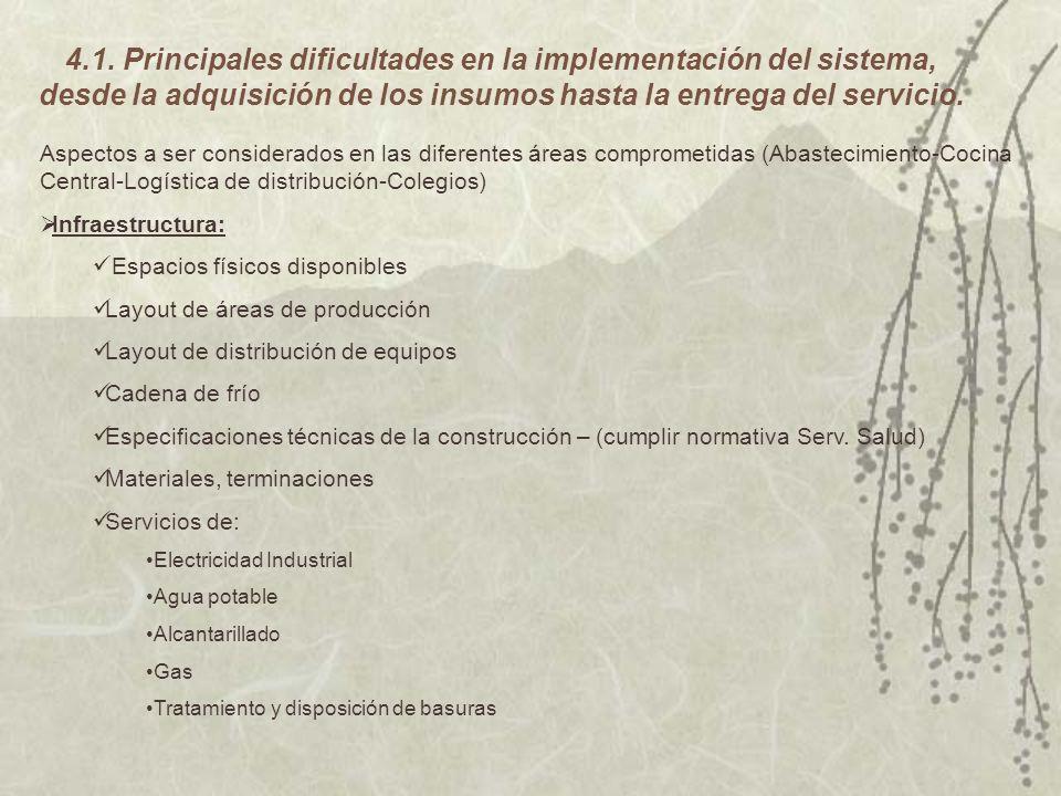 4.1. Principales dificultades en la implementación del sistema, desde la adquisición de los insumos hasta la entrega del servicio.