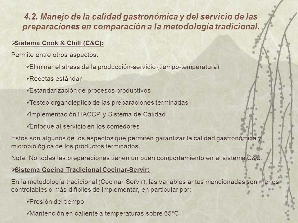 4.2. Manejo de la calidad gastronómica y del servicio de las preparaciones en comparación a la metodología tradicional.