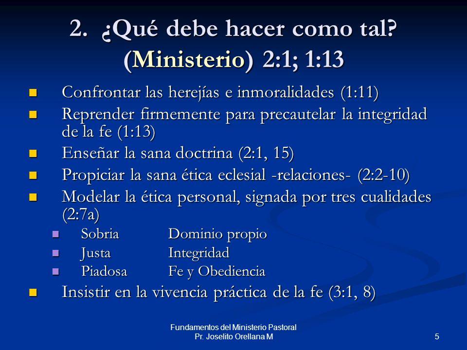 2. ¿Qué debe hacer como tal (Ministerio) 2:1; 1:13