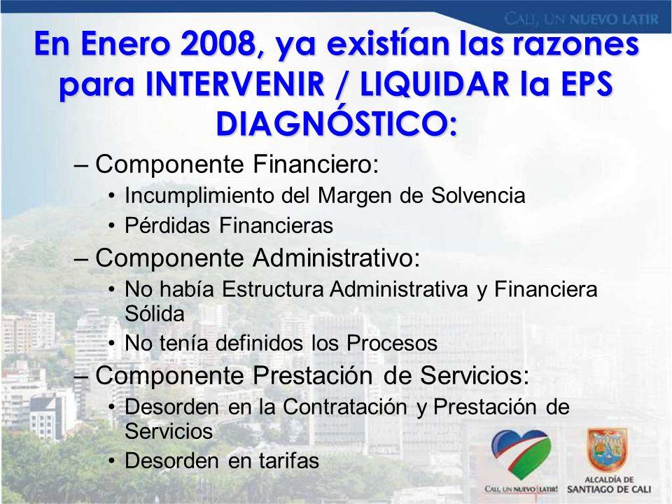 En Enero 2008, ya existían las razones para INTERVENIR / LIQUIDAR la EPS DIAGNÓSTICO:
