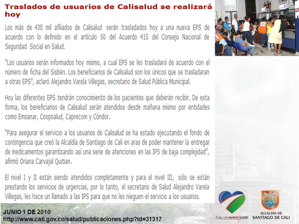 JUNIO 1 DE 2010 http://www.cali.gov.co/salud/publicaciones.php id=31317