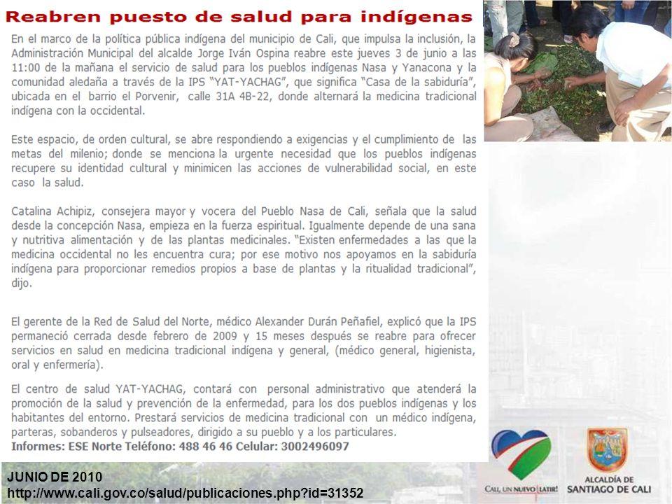 JUNIO DE 2010 http://www.cali.gov.co/salud/publicaciones.php id=31352