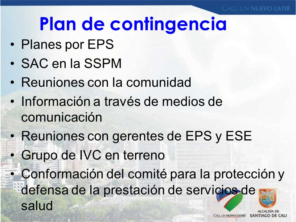 Plan de contingencia Planes por EPS SAC en la SSPM