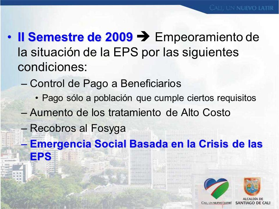II Semestre de 2009  Empeoramiento de la situación de la EPS por las siguientes condiciones: