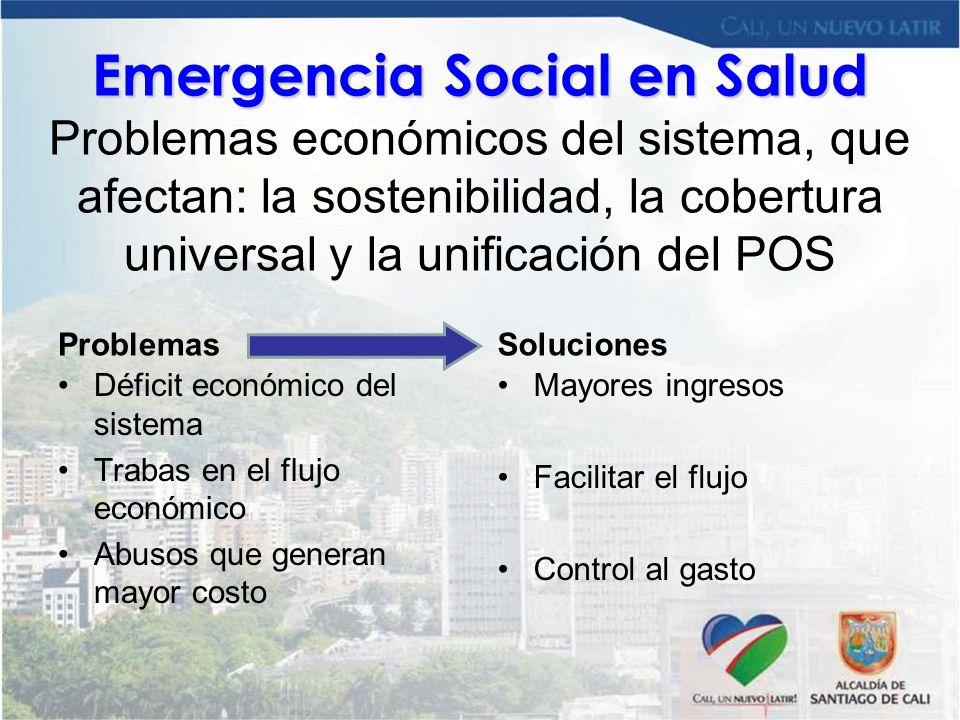 Emergencia Social en Salud Problemas económicos del sistema, que afectan: la sostenibilidad, la cobertura universal y la unificación del POS