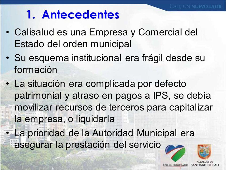 1. Antecedentes Calisalud es una Empresa y Comercial del Estado del orden municipal. Su esquema institucional era frágil desde su formación.