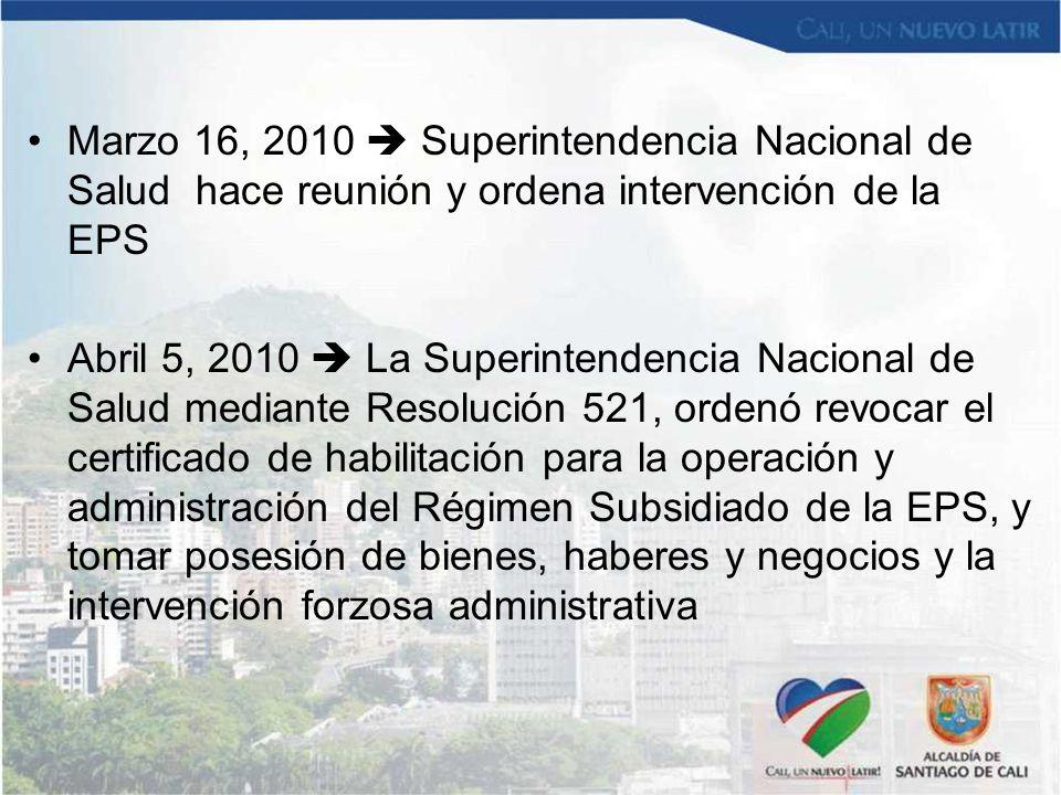 Marzo 16, 2010  Superintendencia Nacional de Salud hace reunión y ordena intervención de la EPS