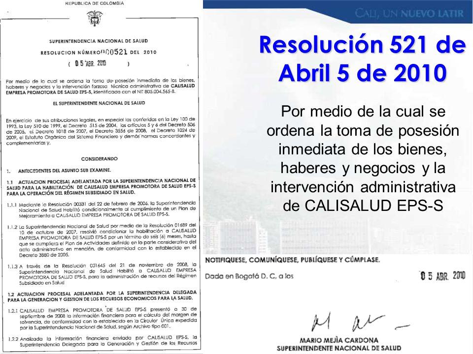 Resolución 521 de Abril 5 de 2010