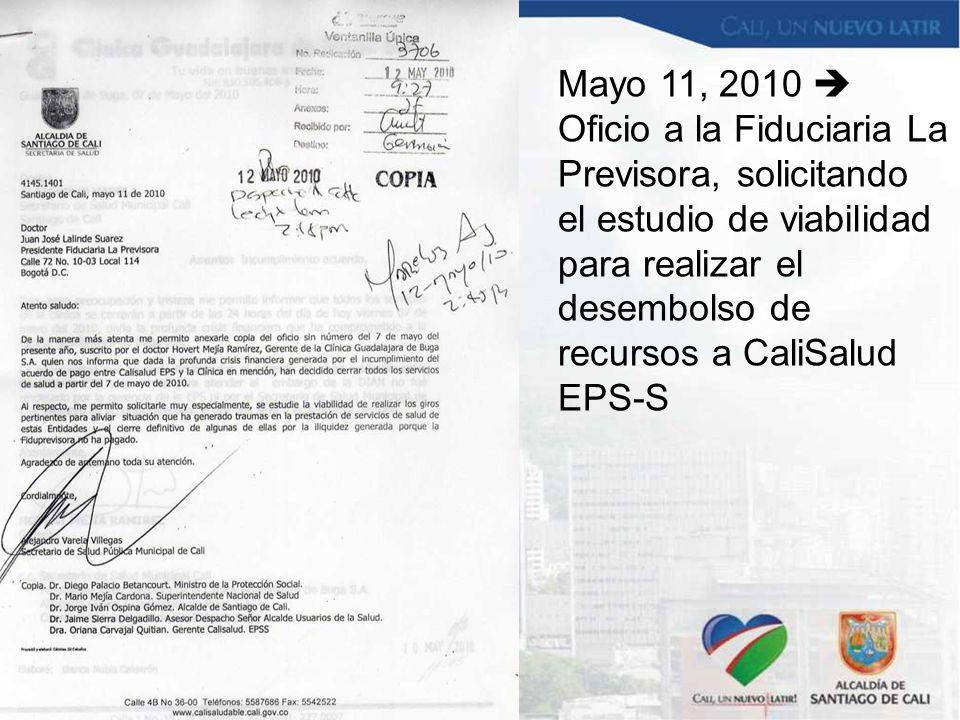 Mayo 11, 2010  Oficio a la Fiduciaria La Previsora, solicitando el estudio de viabilidad para realizar el desembolso de recursos a CaliSalud EPS-S