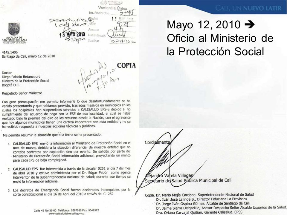 Mayo 12, 2010  Oficio al Ministerio de la Protección Social
