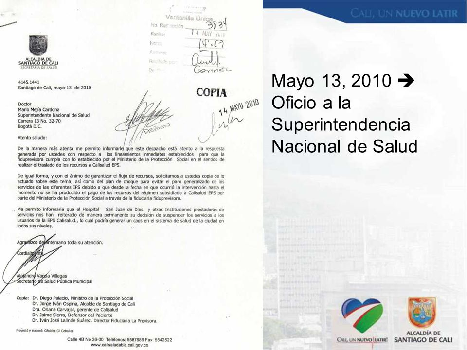 Mayo 13, 2010  Oficio a la Superintendencia Nacional de Salud