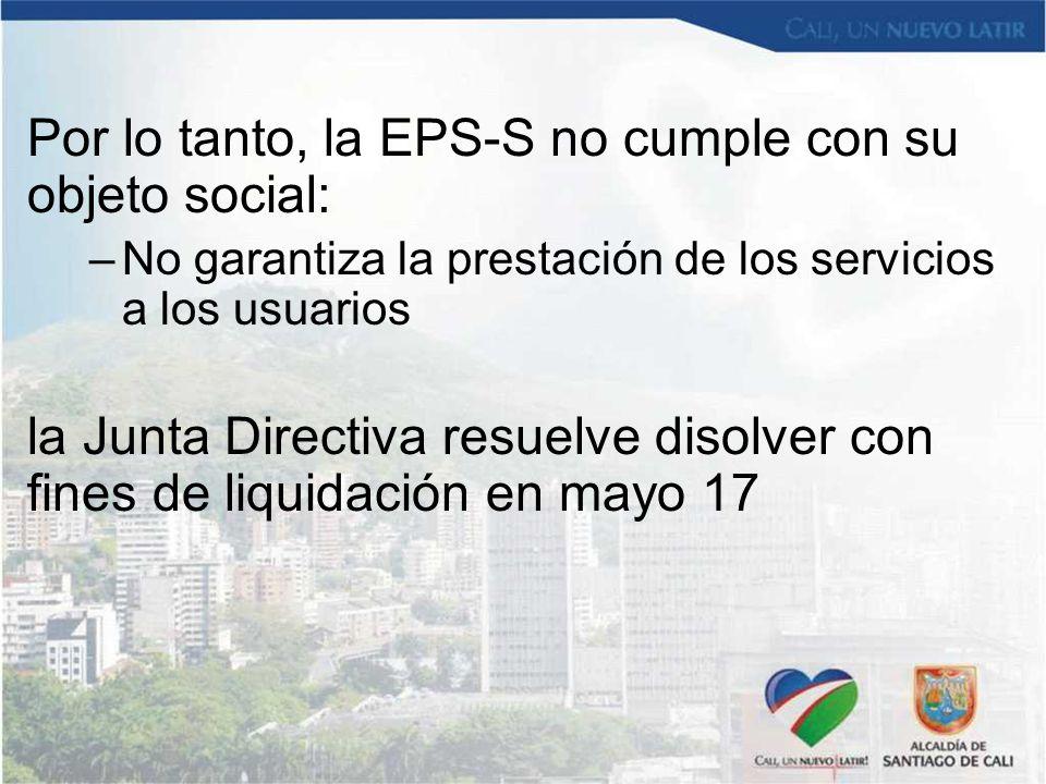 Por lo tanto, la EPS-S no cumple con su objeto social:
