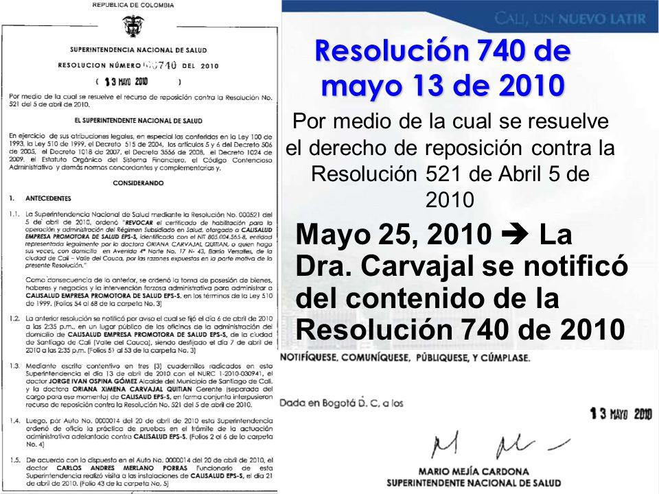 Resolución 740 de mayo 13 de 2010 Por medio de la cual se resuelve el derecho de reposición contra la Resolución 521 de Abril 5 de 2010.