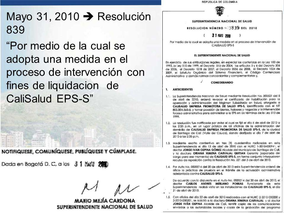 Mayo 31, 2010  Resolución 839