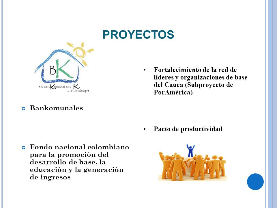 PROYECTOS Fortalecimiento de la red de líderes y organizaciones de base del Cauca (Subproyecto de PorAmérica)