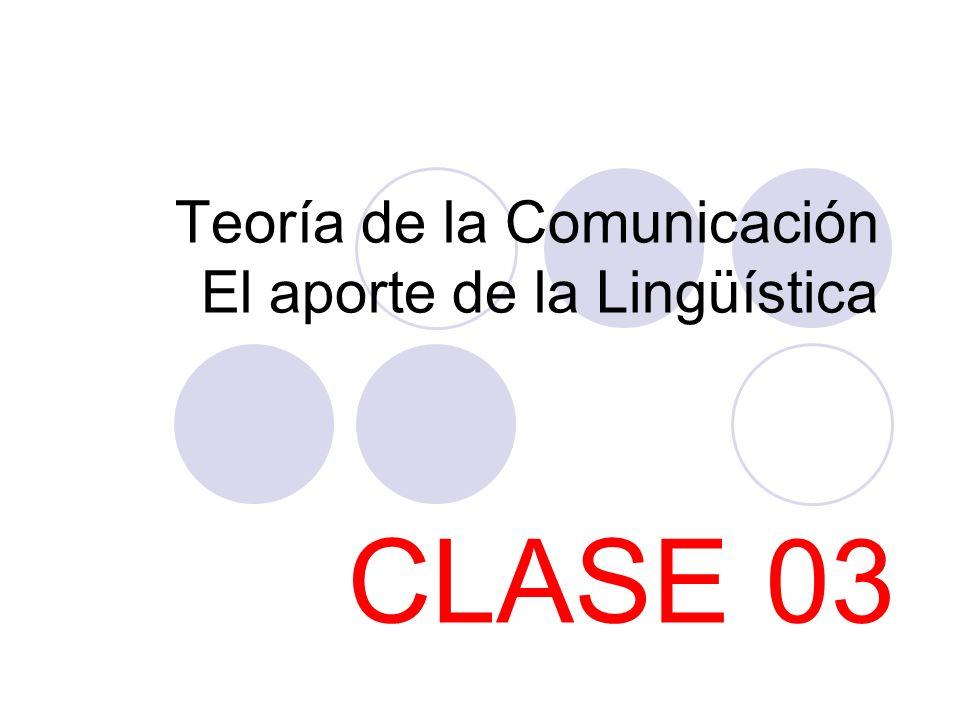 Teoría de la Comunicación El aporte de la Lingüística
