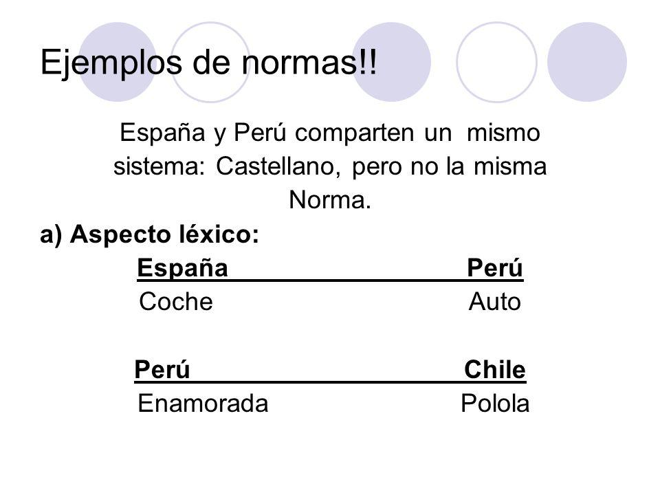 Ejemplos de normas!! España y Perú comparten un mismo