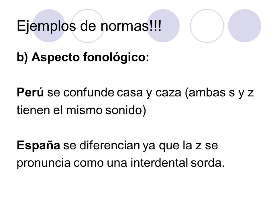Ejemplos de normas!!! b) Aspecto fonológico: