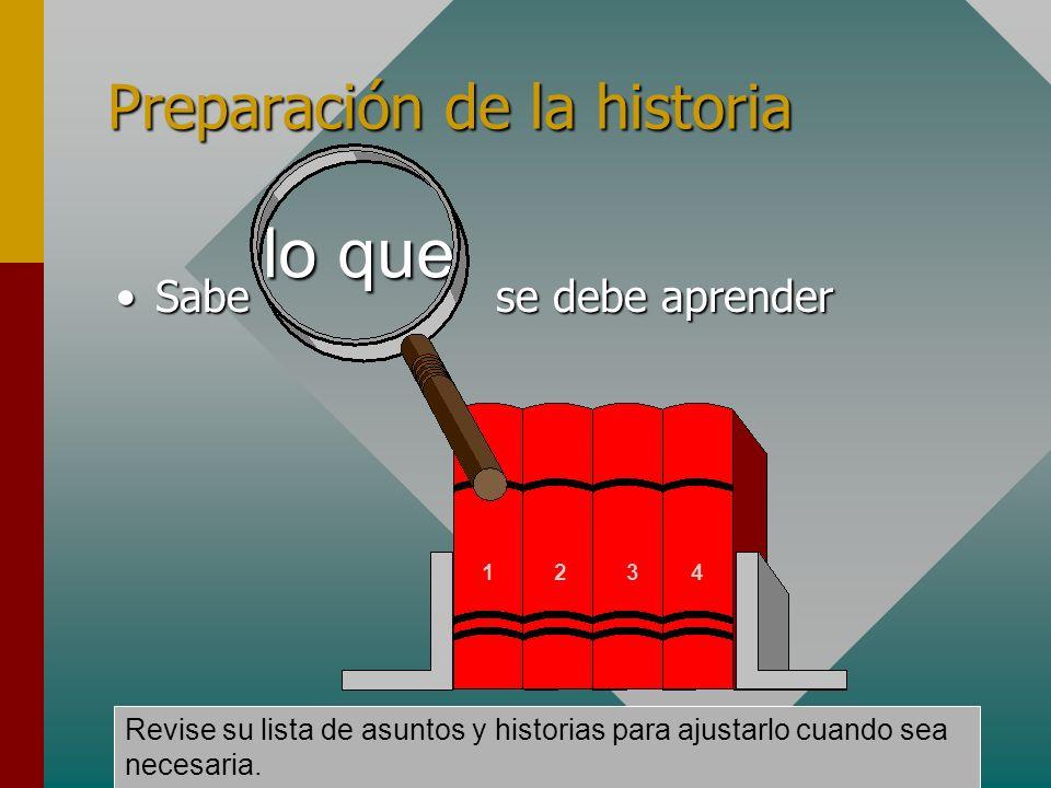 Preparación de la historia