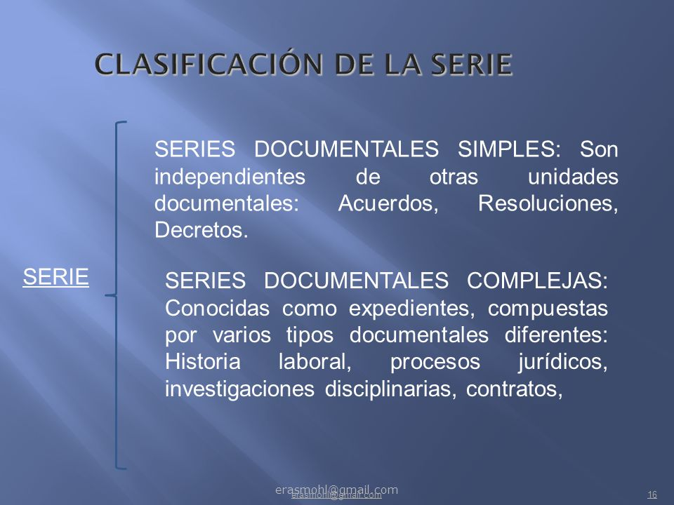 CLASIFICACIÓN DE LA SERIE