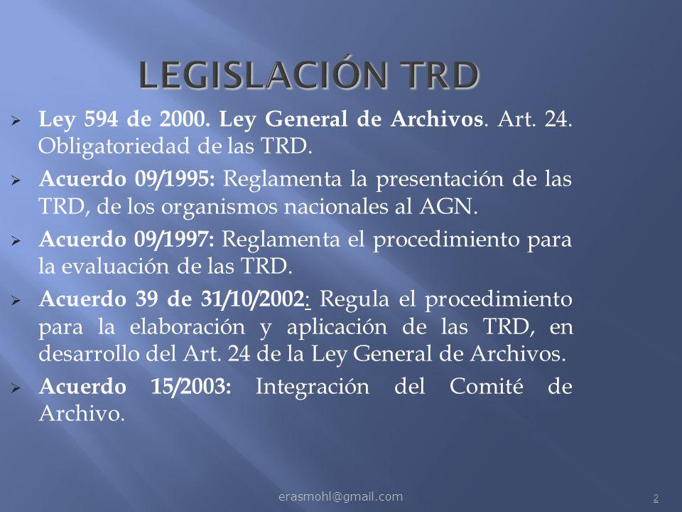 LEGISLACIÓN TRD Ley 594 de 2000. Ley General de Archivos. Art. 24. Obligatoriedad de las TRD.